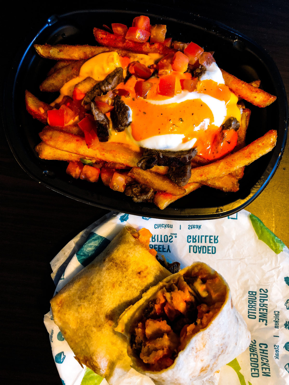 Taco Bell's Steak Reaper Ranch Fries Supreme (top) and Steak Reaper Ranch Fries Burrito (bottom)